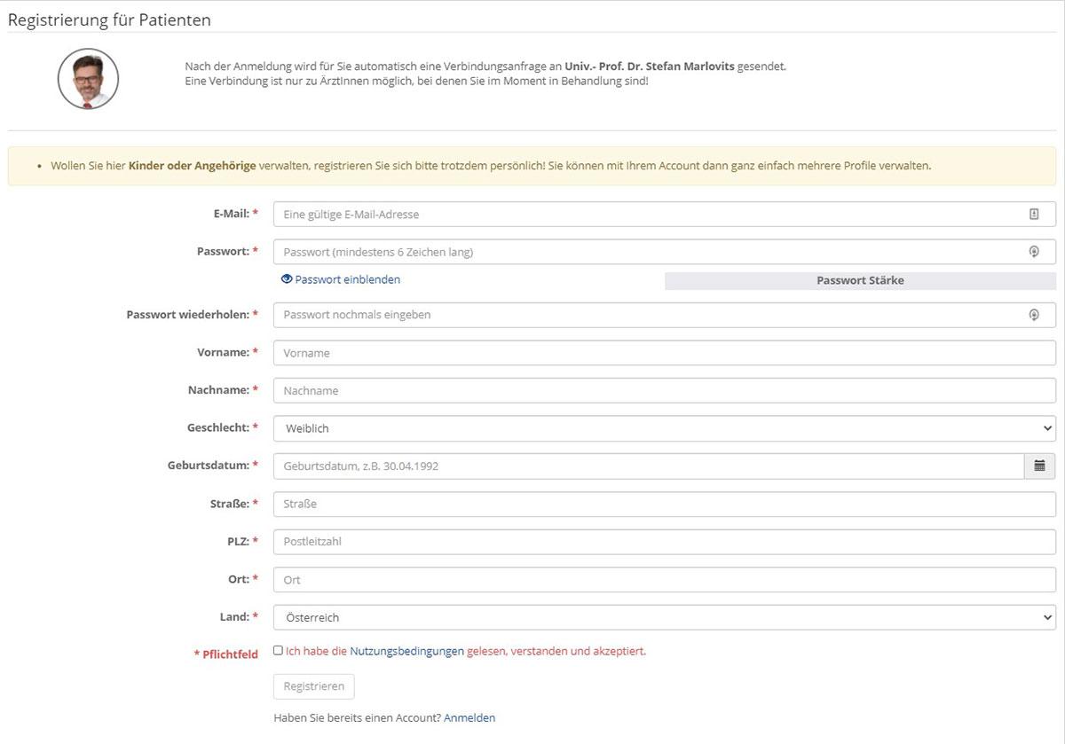 Registrierung bei MeinArztOnline
