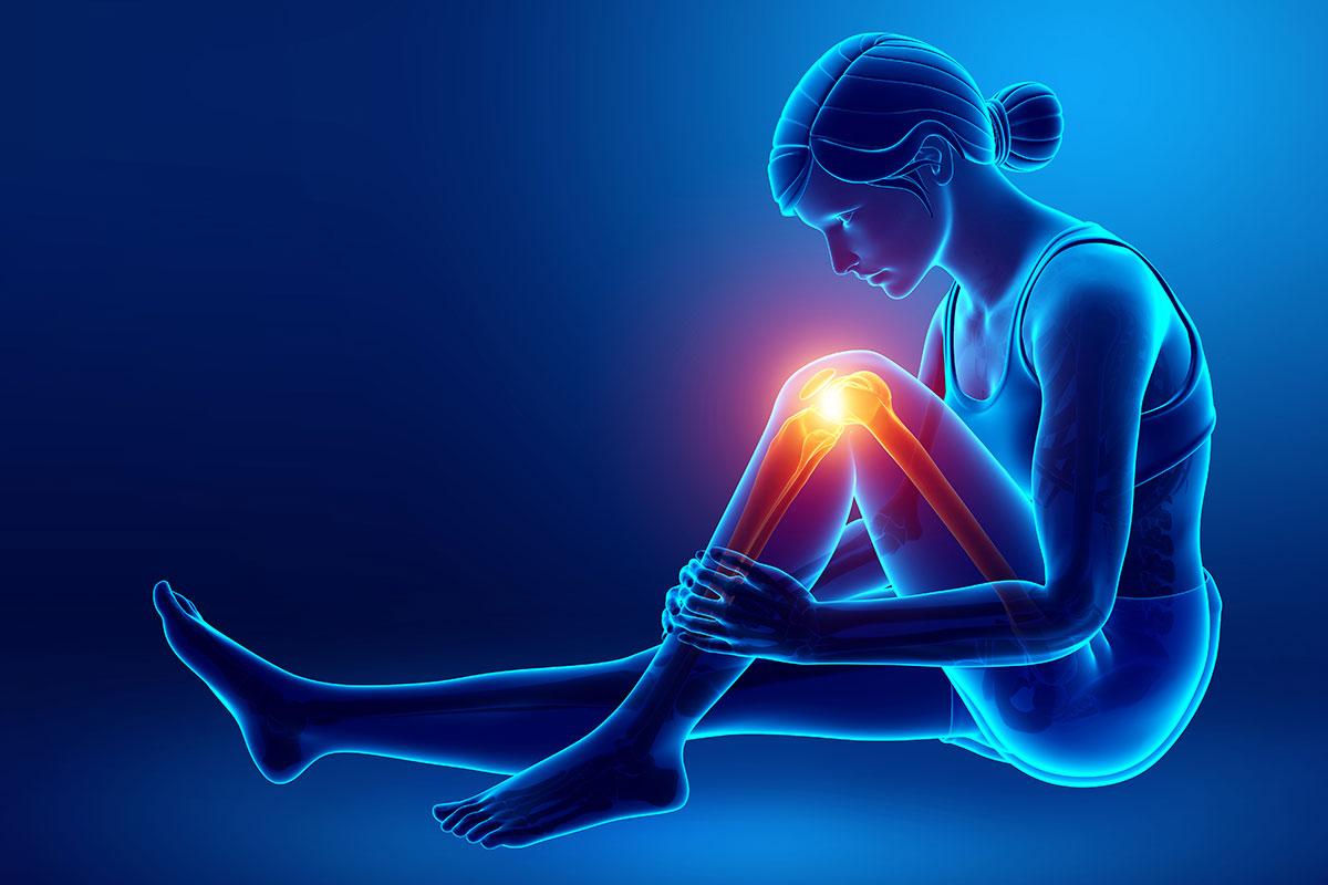 Grafik einer Frau mit Knieschmerzen