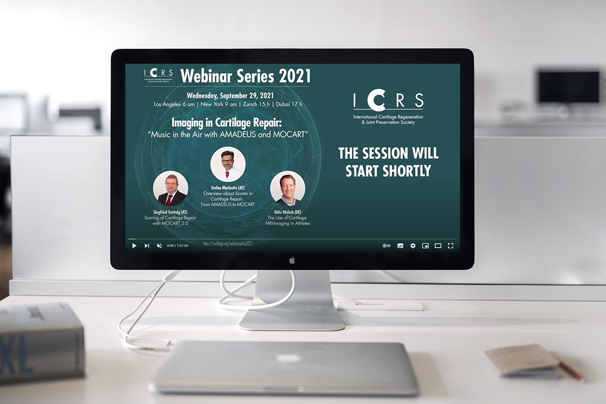 Bildschirm mit Webinar Imaging in Cartilage Repair